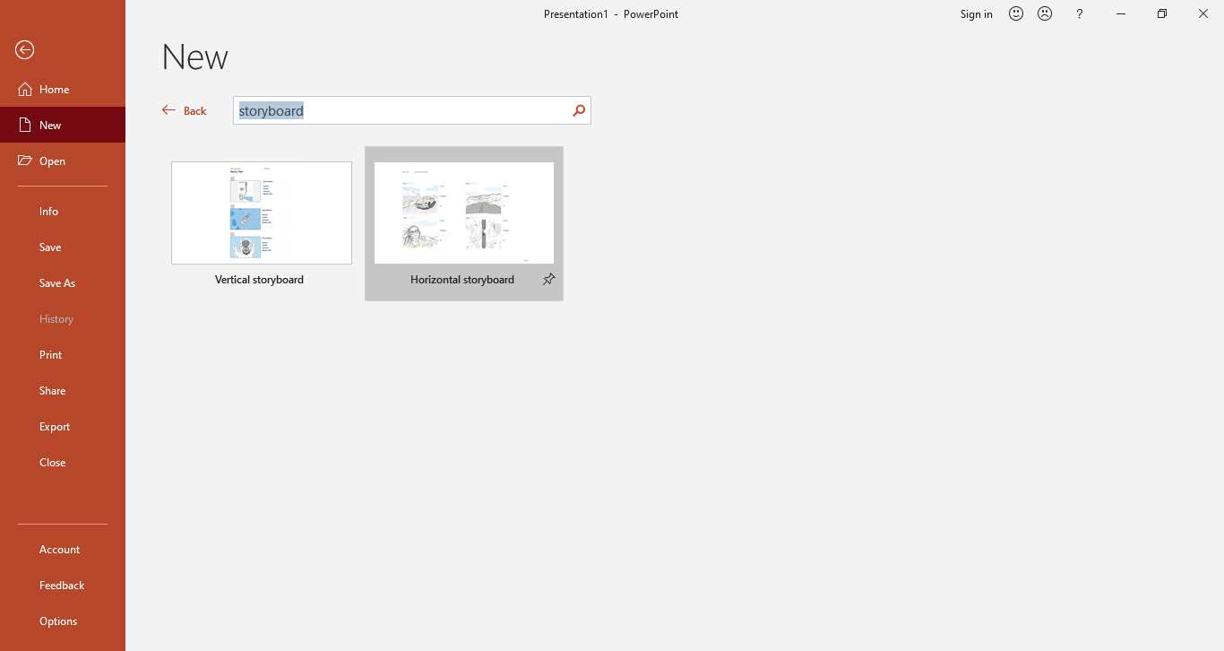 powerpoint search storyboard