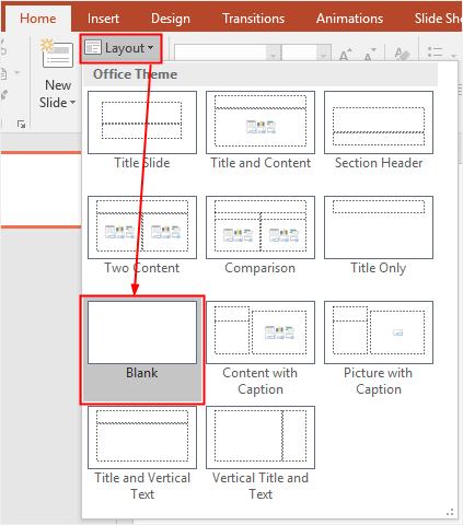 select blank layout