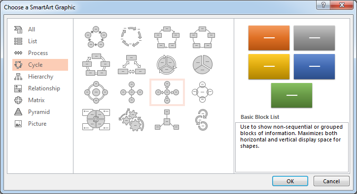 smartart graphic circle