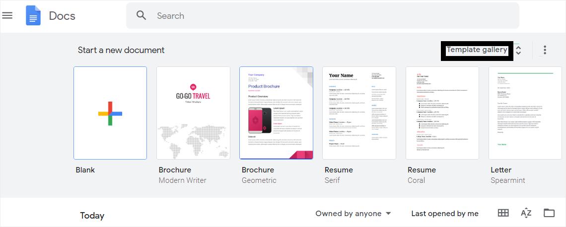google template gallery