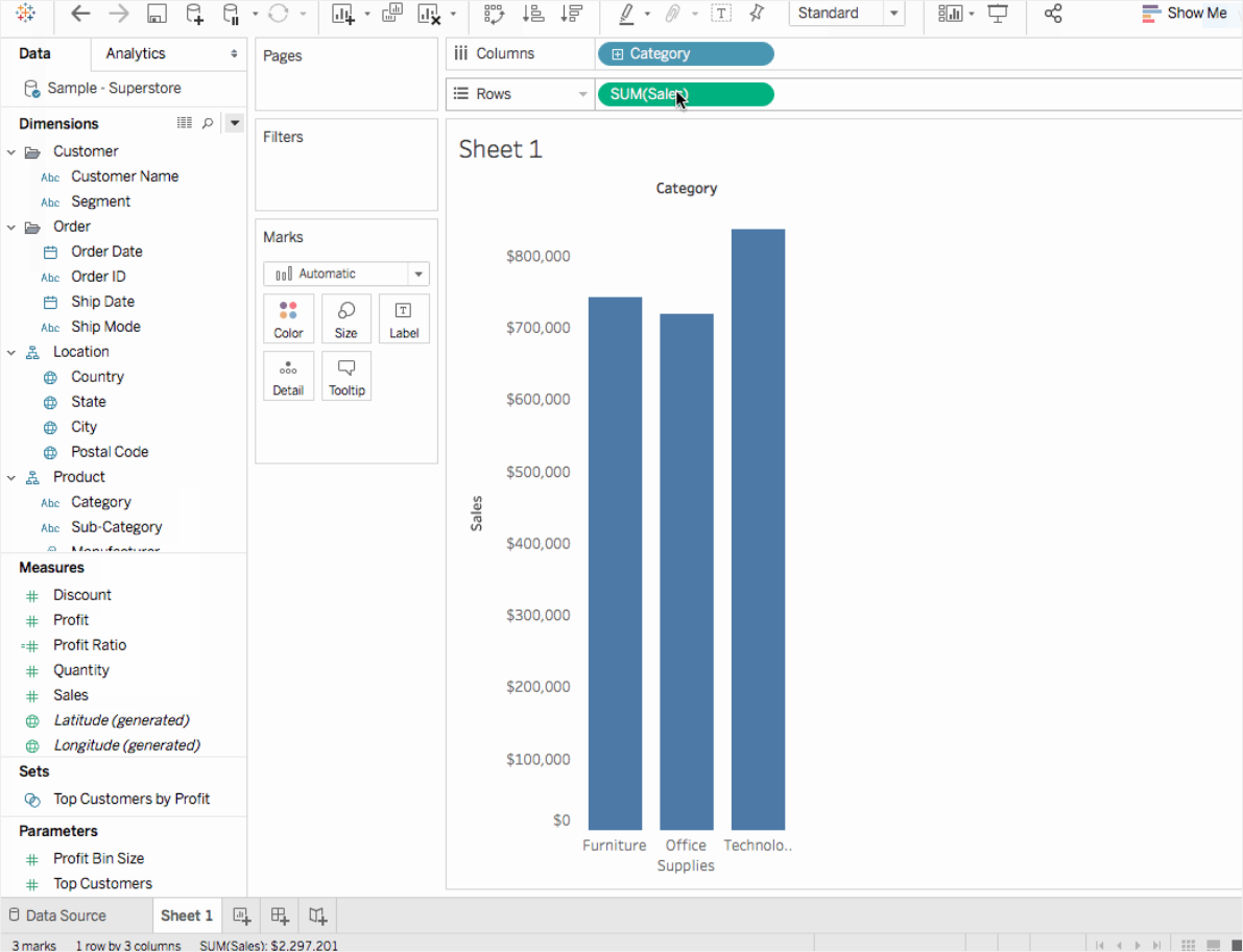 tableau select data