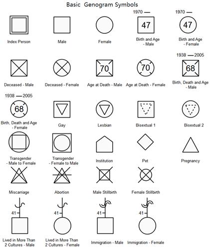 basic genogram symbols