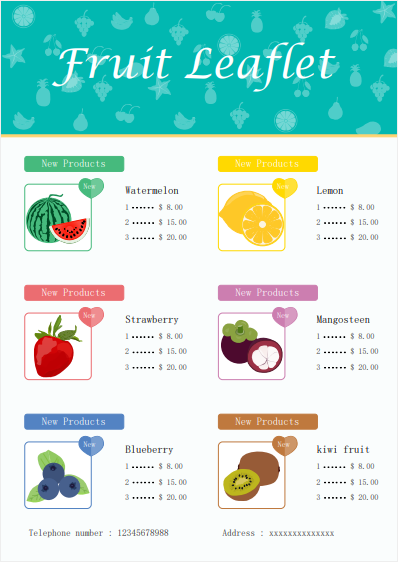 fruit menu leaflet