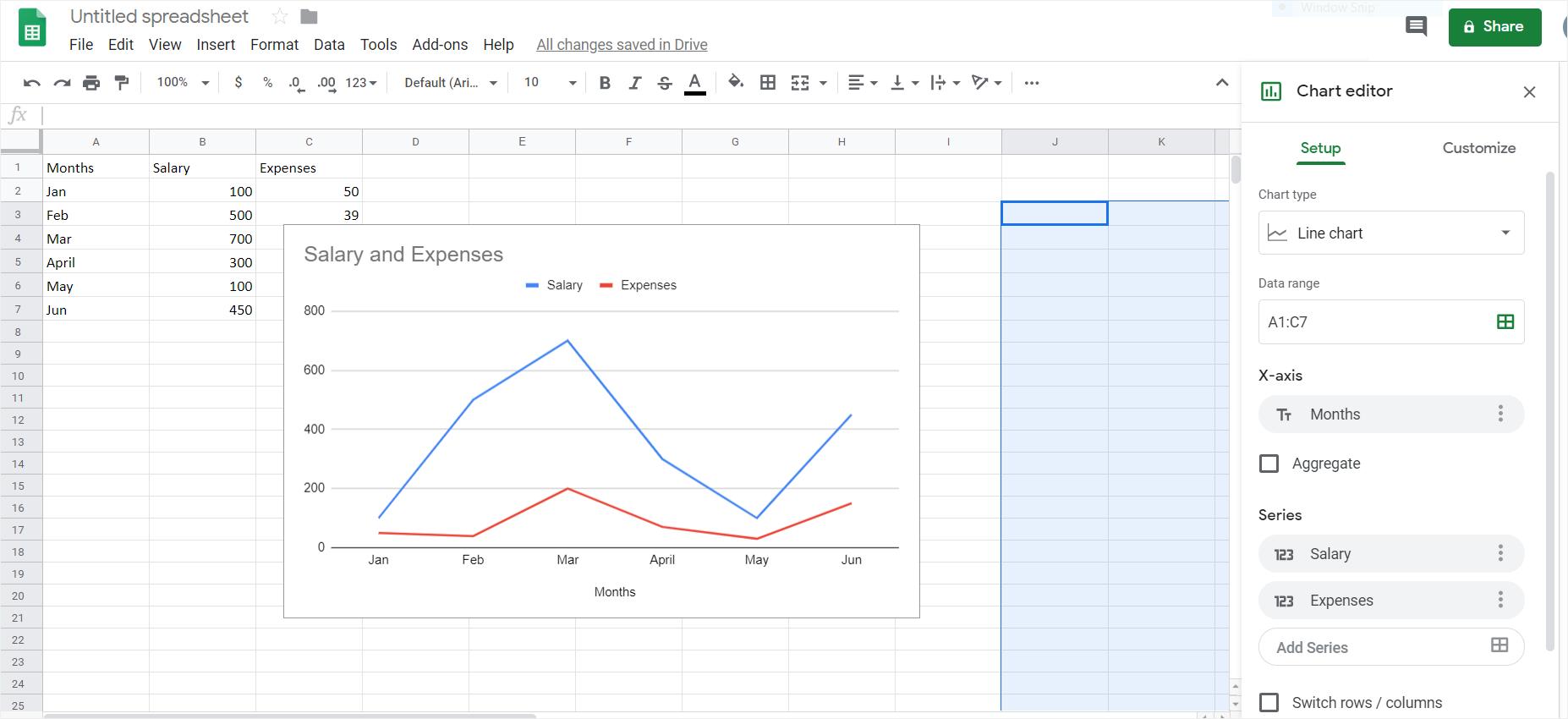 google insert line graph