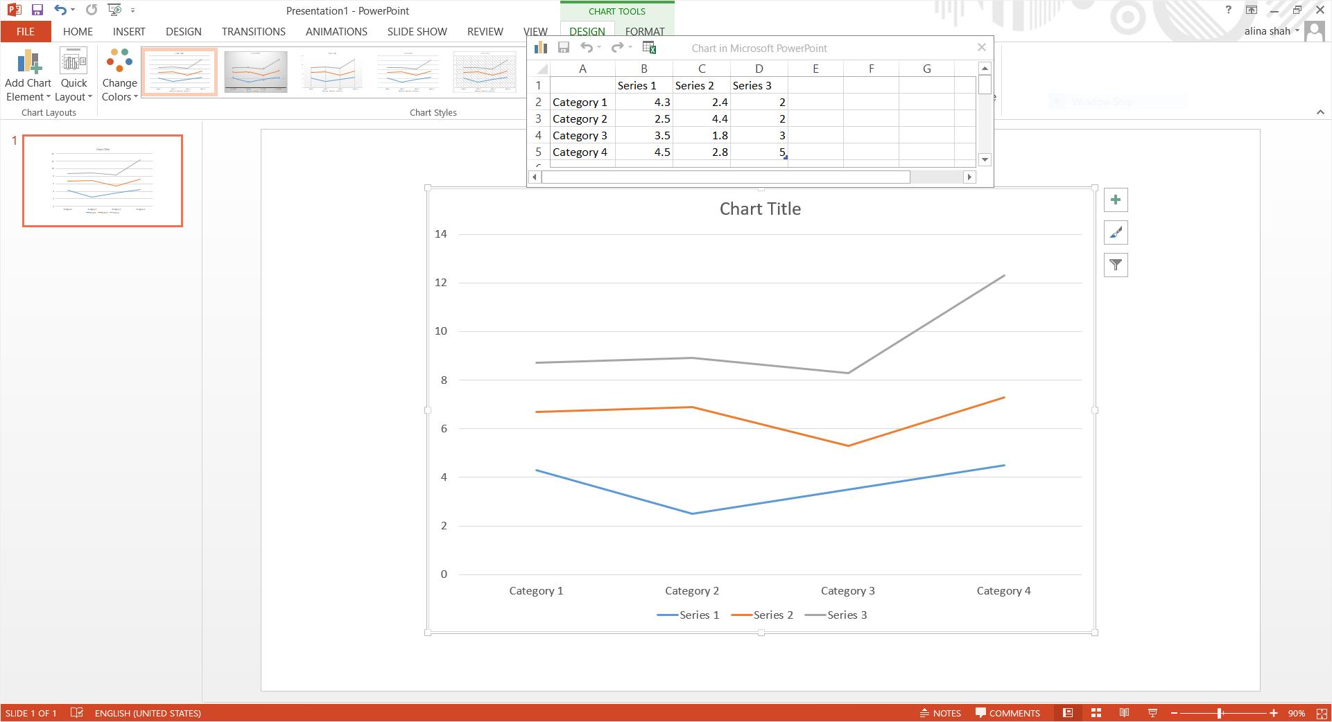 ppt insert line graph