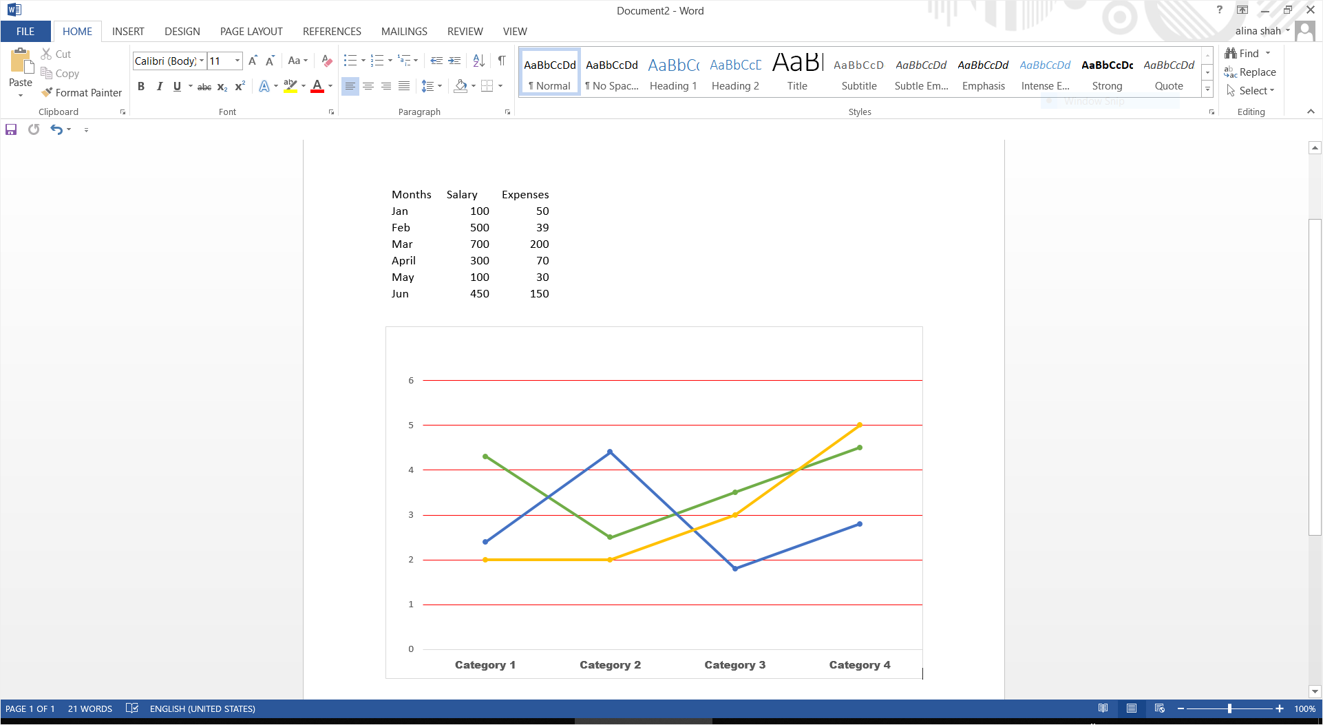 word customize chart