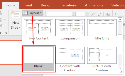 select blank layout