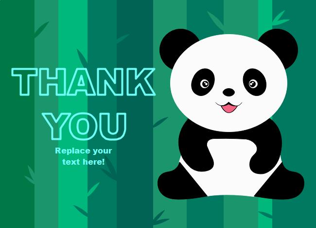 panda thank you card