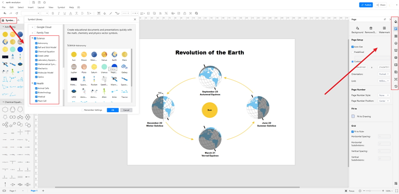 How to Create Earth Revolution Diagram Online