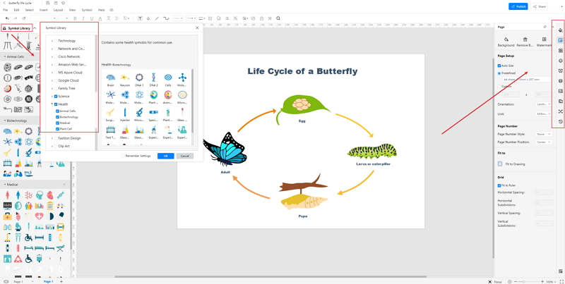 How to Create Life Cycle of Butterfly Diagram Online