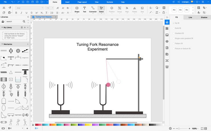How to Draw Tuning Fork Resonance Diagram Online