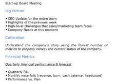 Start-Up Meeting Agenda