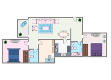 Colored Two Bedroom House Plan