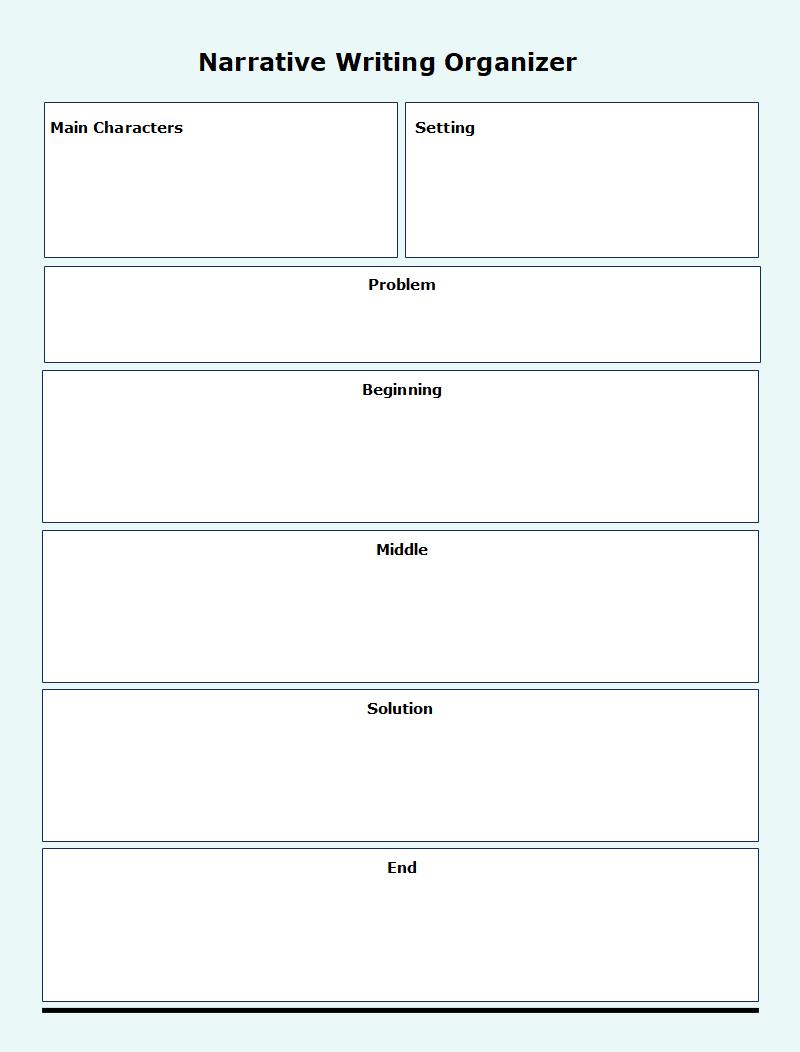 Narrative Writing Graphic Organizer Template