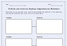 Problem and Solution Reading Comprehension Worksheet