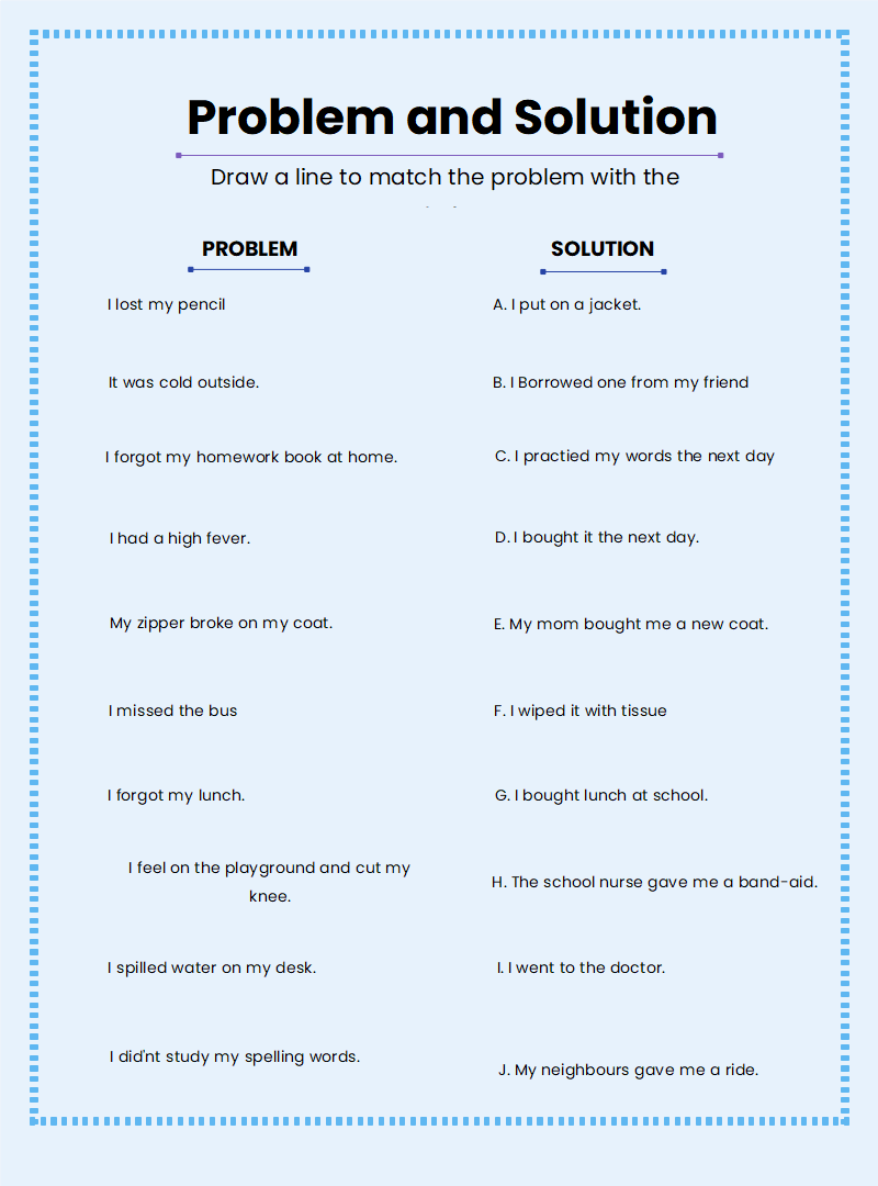 Story Elements - Problem and Solution worksheet