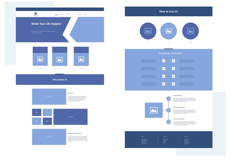 Home Page Wireframe Example