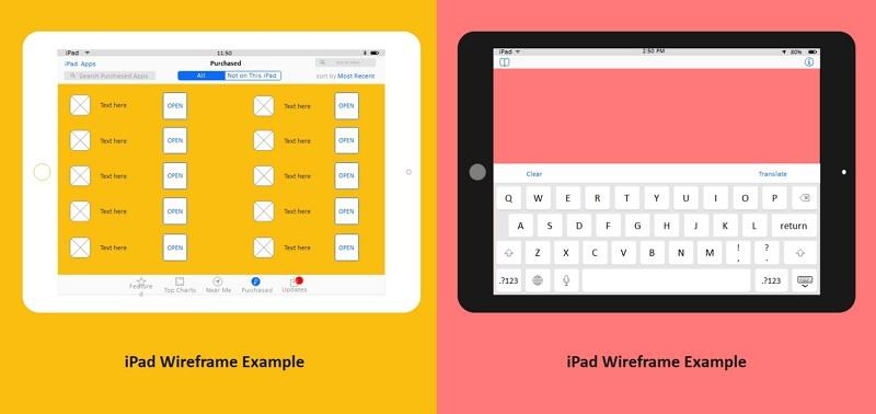 iPad Wireframe Example
