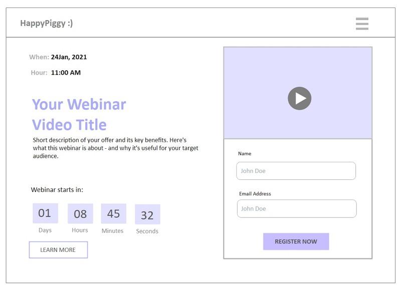 Webinar Registration Wireframe