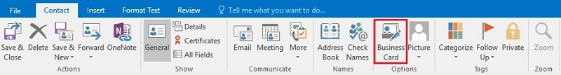 how to make a business card in Outlook