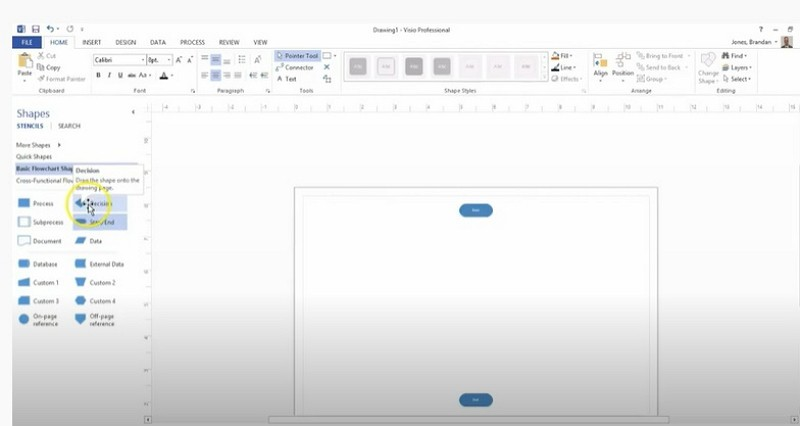 how to make a decision tree in Visio