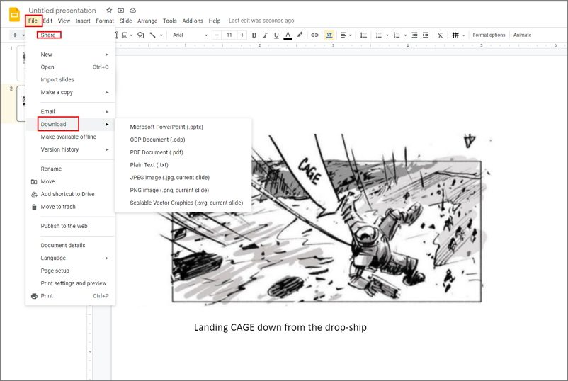 how to make a storyboard in Google Slides