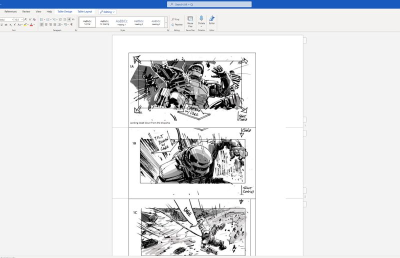how to make a storyboard in Word