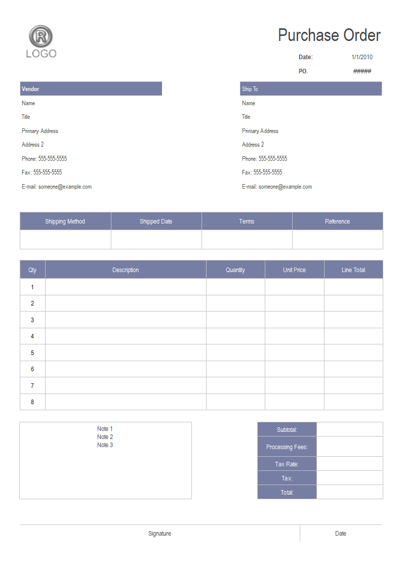 Online Invoice Template