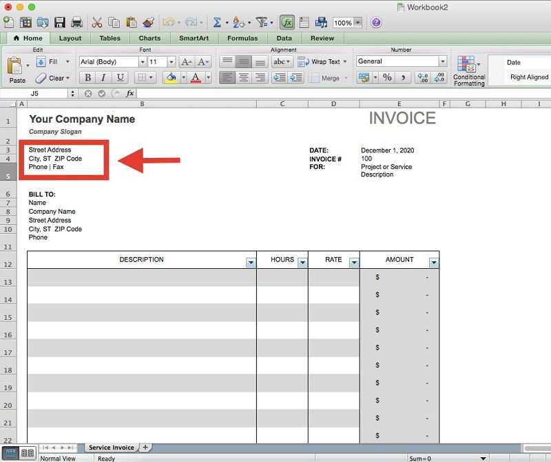how to make an invoice in Excel