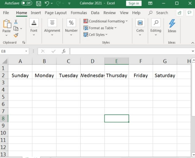 how to make a calendar in Excel