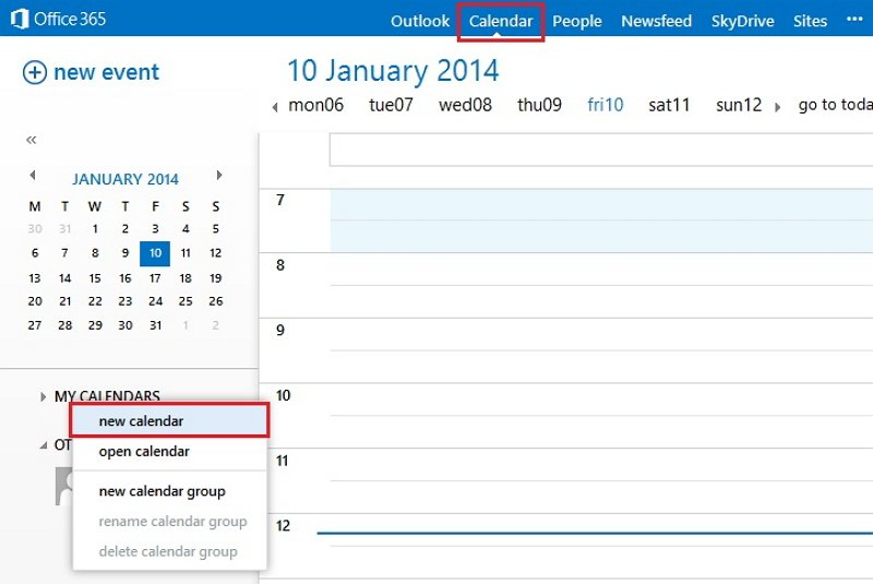 how to make a calendar in Outlook