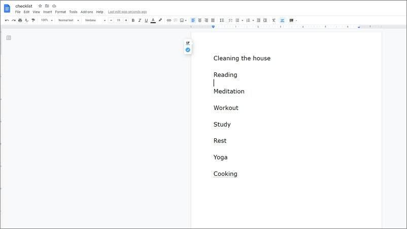 how to make a checklist in Google Docs