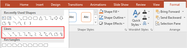 choose lines from the shape gallery in PowerPoint