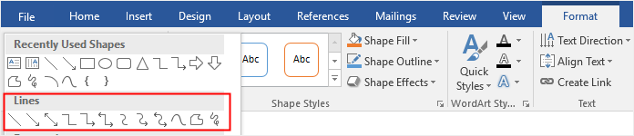 choose lines from the shape gallery in Word