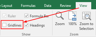 turn off the gridlines in Excel