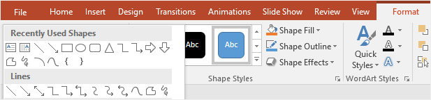 choose line from the shape gallery in PowerPoint
