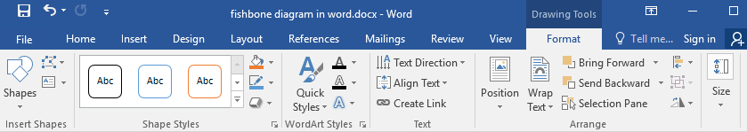 Format tab in Word