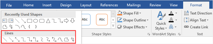 choose line from the shape gallery in Word