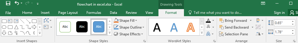 Format tab in Excel