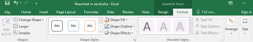 Format tab of SmartArt tools in Excel