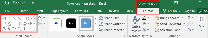 shape gallery in Excel