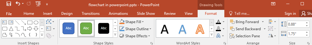the options of Shape styles in PowerPoint