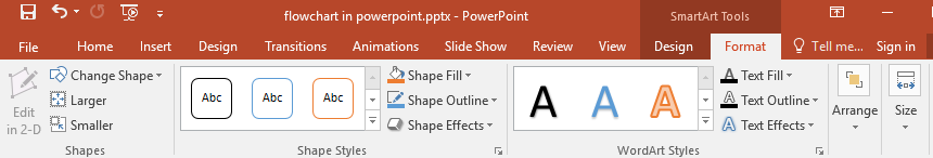 Format tab of SmartArt tools in PowerPoint