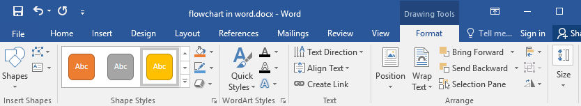the options of Shape styles in Word