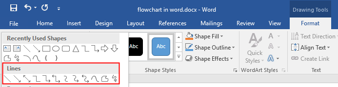 Find the line shapes in Word