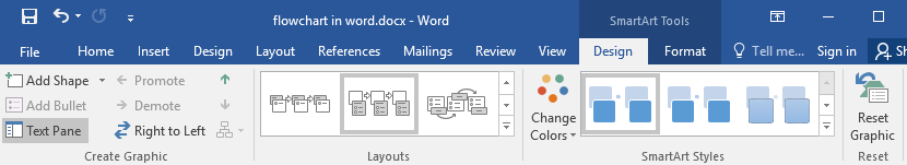Design tab of SmartArt tools in Word