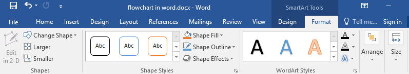 Format tab of SmartArt tools in Word