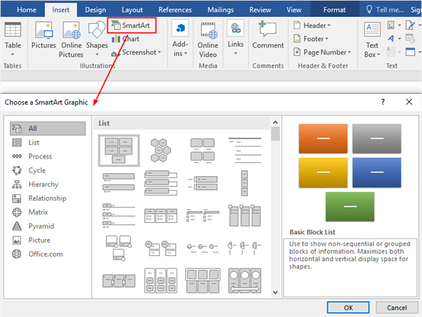 Choose a SmartArt Graphic window in Word