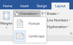 change page orientation in Word
