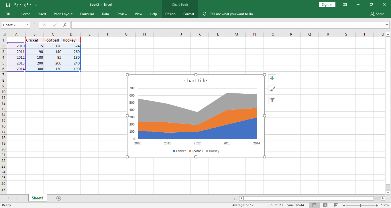 excel insert area chart